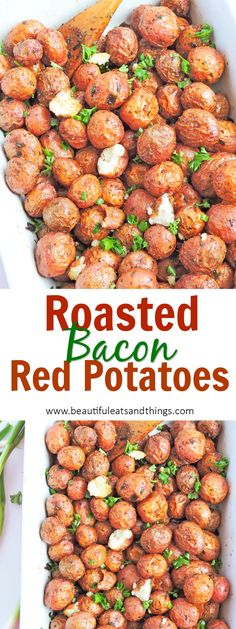 These Bacon Roasted Red Potatoes are the perfect recipe for breakfast, lunch, or dinner! bacon potatoes | breakfast potatoes | mini red potato recipes | fingerling potato recipes | healthy sides | bacon recipes | brunch recipes | healthy dinner idea