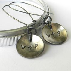 LMAO!!  wtf stamped silver earrings (made by SAStudio via Etsy).