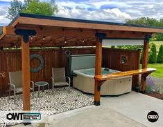 garden seating OZCO Building Products Ornamental Wood Ties (OWT) Backyard seating area and spa area built with OZCOs Post Bases, Post to Beam wood ties, Flush Inside 45 degree angle wood ties, and Rafter Clips all in Laredo Sunset. Backyard Pavilion, Backyard Seating, Backyard Patio Designs, Outdoor Seating Areas, Garden Seating, Outdoor Rooms, Backyard Buildings, Outdoor Living, Hot Tub Pergola