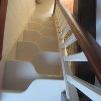 Furniture and Accessories. Inspiring Minimalist Custom-Made White Unique Minimum Landing Space-Saver Stair Design. Cool Space-Saver Staircas...