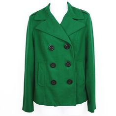 OLD NAVY - Cropped Wool Blend Peacoat Worn - no holes, tears or stains. All buttons are attached. Silky inner lining - Navy color. Exterior Color: Pool Felt - (Kelly Green). 62% polyester 38% wool. Old Navy Jackets & Coats Pea Coats