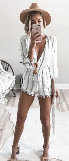 #fall #outfits Camel Hat + White Striped Romper + Nude Sandals