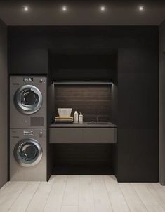 15 clever ideas for small laundry room design 00003 Laundry Decor, Laundry Room Organization, Laundry Room Design, Modern Laundry Rooms, Laundry Room Layouts, Bathroom Interior Design, Interior Design Living Room, Black Interior Design, Laundry Room Inspiration