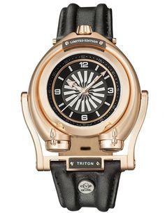 Triton Mens Swiss Automatic Black Leather Strap Watch