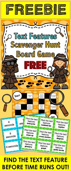 Text Features: Text Features FREE game contains 27 text features game cards and a game board to help students practice finding various text features in nonfiction text. To play this game, a player will select a time card and a text feature scavenger hunt card. In order to move his/her piece forward on the game board, the player must find an example of that text feature within the amount of time shown.