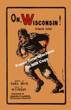 On, Wisconsin Sheet Music Cover Art Print - Digitally Remastered Fine Art Print - Famous Wisconsin Football Song. $14.99, via Etsy.