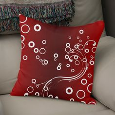 Discover «White Abstracts on Red», Numbered Edition Throw Pillow by Fotios Pavlopoulos - From $27 - Curioos