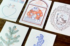 Collection of five letterpress winter cards. Our aim was to collect all of our nice feelings about this cold and blue time to show how lovely it can be, especially on a nice sheet of paper.