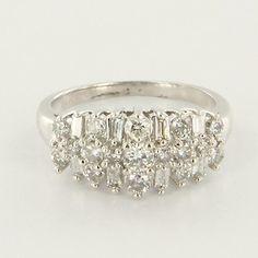 Vintage 14 Karat White Gold Diamond Anniversary Band Ring Fine Estate Jewelry $1125