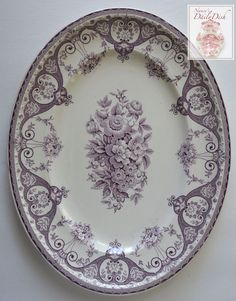 Purple Vintage English Transferware Platter Shabby French Victorian Ro