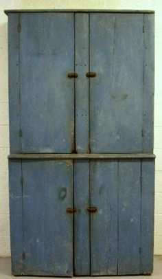 One-piece pine cupboard with original blue paint, mid-19th c. Snyder Co. Pe