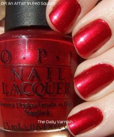 OPI An Affair in Red Square. My signature red shimmer nail polish. Glitter Tip Nails, Silver Nails, Red Nails, Hair And Nails, Pink Nail, Opi Gel Polish, Shellac Nail Art, Nail Polishes, Red Polish