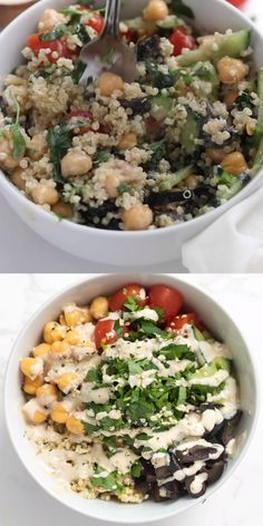 These Mediterranean Quinoa Bowls are the best healthy dinner idea! They're easy to make, vegan and gluten-free. Delicious toppings like chickpeas, cucumber, cherry tomatoes, olives, parsley, and a homemade tahini dressing! Great for clean eating or meal prep.