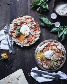 Pani frattau - typical Sardinian recipe made with bread, tomato sauce, eggs and pecorino