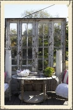 Dishfunctional Designs: New Takes On Old Doors: Salvaged Doors Repurposed Old French Doors, Old Doors, Outdoor Rooms, Outdoor Gardens, Outdoor Living, Old Windows, Windows And Doors, Recycled Windows, Recycled Wood