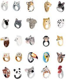 #Bagues avec animaux en porcelaine, peintes à la main par Nach Bijoux.