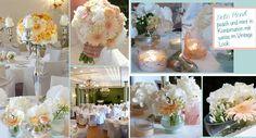 Hochzeitsdekoration im Jagdschloss Kranichstein in Darmstadt mit Silberleuchter und Blumenkugel in Peach, Aprikot und weiss