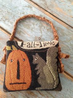 Handmade folk art punch needle pintuck/fall/pumpkin/squirrel/notforgotten farm