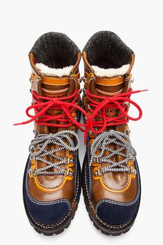 DSQUARED2 Brown Leather & Suede Patchworked Military Hiking Boots