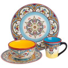 Set you table in eye-catching elegance with this beautiful dinnerware set.    Product: 4 Dinner plates4 Salad pl...