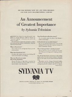 "Description: 1951 SYLVANIA TV vintage print advertisement ""An Announcement of Greatest Importance"" -- See For Yourself How You And Your Children Can Now Have Greater Viewing Comfort ... Only Sylvania has Halolight. -- Size: The dimensions of the full-page advertisement are approximately 10.5 inches x 14 inches (27 cm x 36 cm). Condition: This original vintage full-page advertisement is in Very Good Condition unless otherwise noted."