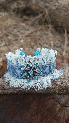 - Light Blue Denim Rhinestone Bracelet Cuff Thin Denim Bracelet Womens Fabric Jewelry Teen Bracelet G - Fabric Bracelets, Fabric Jewelry, Jewelry Bracelets, Diy Denim Bracelets, Diy Bracelet, Denim Armband, Jewelry Crafts, Handmade Jewelry, Handmade Leather