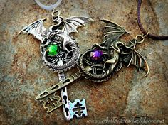 Celtic Dragon Lovers Fantasy Key Pendant Set / Couples Gothic Swarovski Crystal Necklace / Steampunk / Personalized Dragons Gift Idea