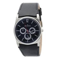@Overstock - This masculine men's watch from skagen features a Japanese quartz movement accented by functional subdials. The stainless steel case centers the piece with a brushed black dial and a black leather strap.http://www.overstock.com/Jewelry-Watches/Skagen-Mens-Black-Leather-Watch/6531842/product.html?CID=214117 $136.99