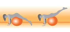 Prone Leg Raises With Ball : Works: Back extensors, glutes    Lie face-down on a stability ball with your arms bent slightly, abs tight, and legs straight.  Keep your abs engaged, slowly lift both legs toward the ceiling.  Pause for three seconds (or at least one second), then lower your legs back to the floor.    Do 2 sets of 10 reps.