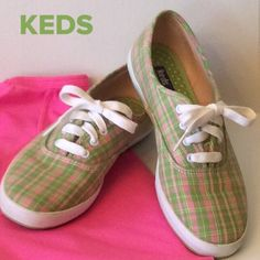 KEDS Original Beautiful pink and green plaid sneakers. Pre-loved and still in great condition. keds Shoes Sneakers