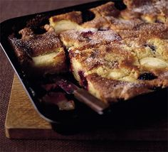 Very quick and easy tray cake. I top mine with extra thinly sliced apples and brown sugar.