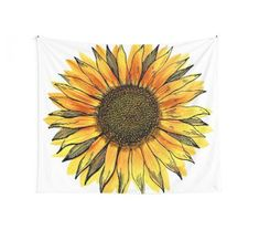 'Sunflower' Wall Tapestry by Gypsy Queen - Makeup Gypsy Bedroom, Tapestry Bedroom, Home Decor Bedroom, Wall Tapestry, Sunflower Nursery, Sunflower Room, Blue Drawings, Minimalist Room, Blue Rooms