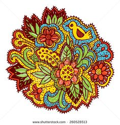 Doodle with flowers and birds. Brown, yellow, blue, green, bright ornament. Vector  - stock vector
