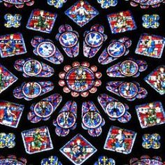 Chartres Cathedral — rose window - Early century stained-glass window in Notre Dame de Chartres Cathedral, France. Stained Glass Tattoo, Stained Glass Cookies, Faux Stained Glass, Stained Glass Windows, Litany Of The Saints, C G Jung, Stain Glass Cross, Glass Art Pictures, Rose Window