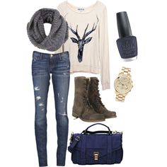 Winter outfit; antler sweater, jeans, navy