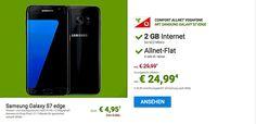 Günstiger Handyvertrag Comfort Allnet Vodafone mit Samsung Galaxy S7 Edge für 4,95€ zum Vertrag nur 4,45 € rechnerische monatliche Grundgebühr mit 120,00€ Rabatt im Netz von Vodafone und erhalten dafür eine Gesprächs Flatrate in alle dt. Netze (Mobilfunk- und Festnetz) sowie eine 2000 MB LTE Internet-Flatrate bis 42,2 Mbit/s, nach 2000 MB Drosselung auf GPRS-Geschwindigkeit der Vertrag wird in Netz von Vodafone bereitgestellt.