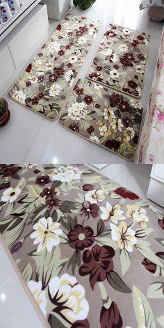 [Visit to Buy] Flower Printed Anti-slip Bathroom Carpet Floor Mats Pad 3 Pcs/set Bath Mat For Kitchen Doormats Living Room, tapis salle de bain #Advertisement