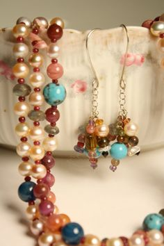 Pearl Gemstone Mix Necklace Earring Set Ruby by QuietMind on Etsy, $425.00