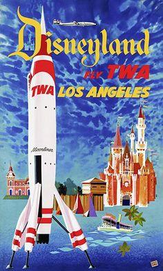 Disneyland - Fly TWA - Los Angeles - 1955 - Travel Poster