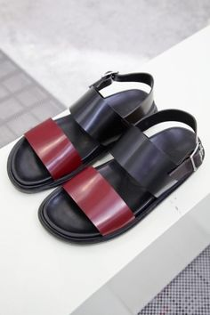 Marni Menswear Spring Summer 2014 Milan | shoes | fashion | sandals | black | maroon | androgynous