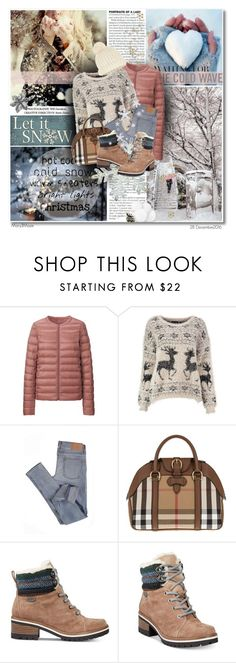 """Winter Snow"" by octobermaze ❤ liked on Polyvore featuring Shibuya, Uniqlo, Cheap Monday, Burberry, Anne Klein, Accessorize, Winter, snow and WinterSnow"