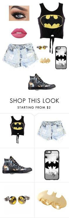 """""""Batman"""" by laurenbrgr ❤ liked on Polyvore featuring Levi's, Converse, Casetify, Noir and Lime Crime"""
