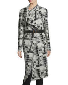 TC8LA Donna Karan Long-Sleeve Belted Blanket Coat, Black/Ivory