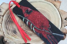 Felt Cardinal Bookmark  Handpainted Bird in by ArtfullyReDesigned, $14.00