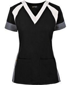 Feel elegant and modern with the WonderWink FourStretch Black/White/Pewter V-Neck Top. Find sophisticated color block scrub tops at Uniform Advantage! Cute Scrubs Uniform, Camo Scrubs, Scrubs Outfit, Scrubs Pattern, Scrub Sets, Medical Scrubs, Work Wardrobe, V Neck Tops, Diy Clothes