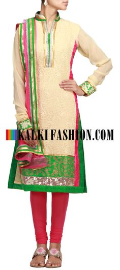Buy Online from the link below. We ship worldwide (Free Shipping over US$100) http://www.kalkifashion.com/beige-a-line-suit-with-pleats-and-thread-work.html Beige A-line suit with pleats and thread work