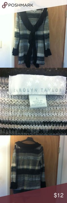 Multicolor caridigan Carolyn Taylor caridigan, colors are a mix of black, white, gray, tan and tannish green, size large. Has clasp at bust. Has some wear, but no  visible flaws. Carolyn Taylor Sweaters Cardigans