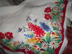 Vintage Tablecloth Wilendur Floral Bouquet Daisys Poppys Bell Flowers Cottage EX | eBay