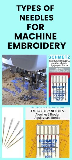 Learn all about machine embroidery needles. This guide covers embroidery needle sizes, differences between types of needles, how to pick the right needle for your project, and much more. The quality of your machine embroidery projects depends on the tools you use. This is especially true of your needles. In this sewing tutorial I'm showing you anything and everything you need to know about machine embroidery needles! Sewing Hems, Sewing Pockets, Sewing Elastic, Sewing Pants, Sewing Clothes, Sewing For Dummies, Machine Embroidery Projects, Embroidery Needles, Sewing A Button