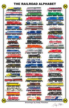 """An 11""""x17"""" poster of the 60 hand drawn locomotives in the """"ABC of America's Railroads"""" (1993) by Andy Fletcher"""